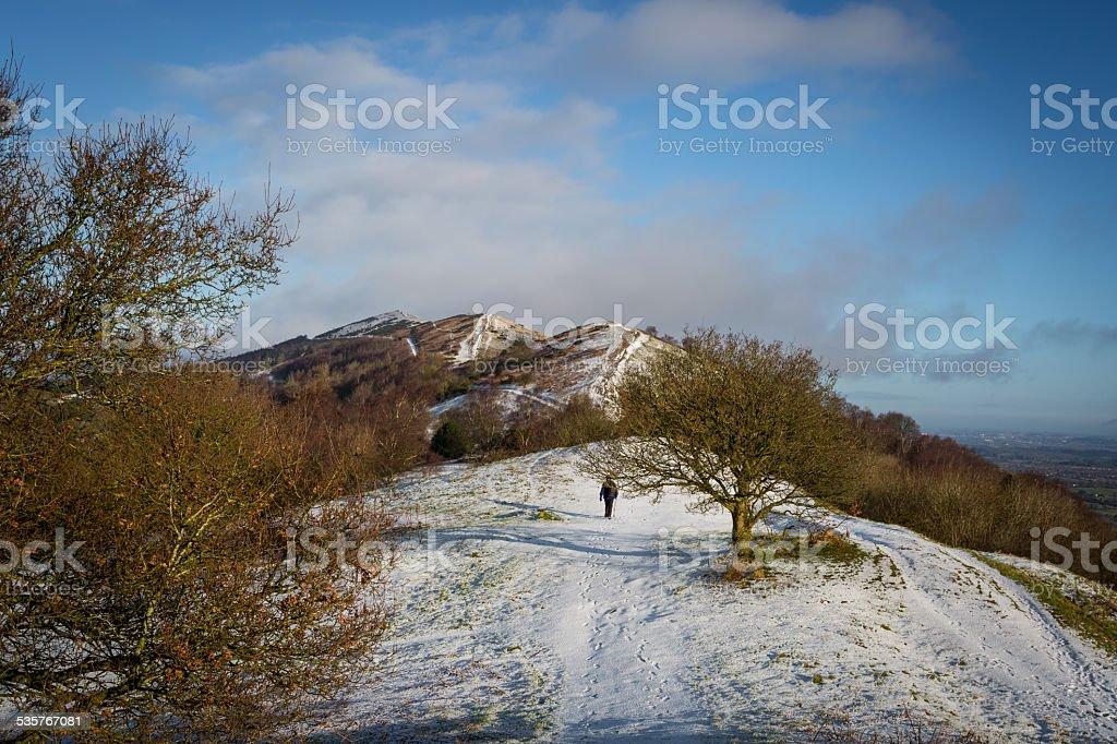 The Malvern Hills following snowfall stock photo