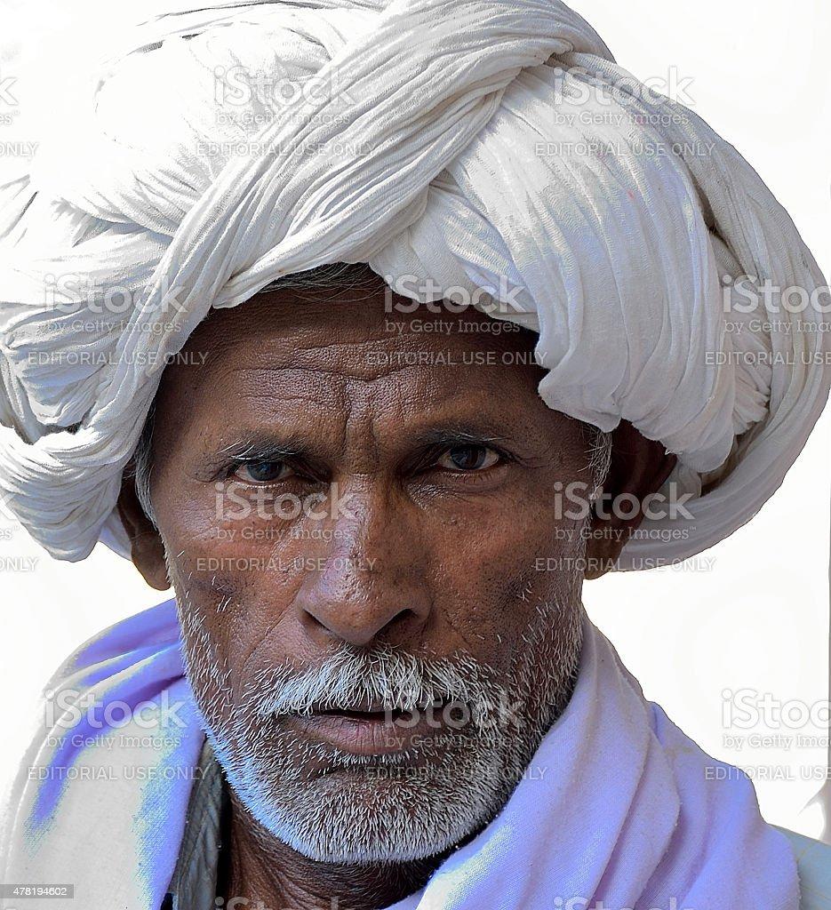 The man at royal Gaitor tombs in Jaipur stock photo