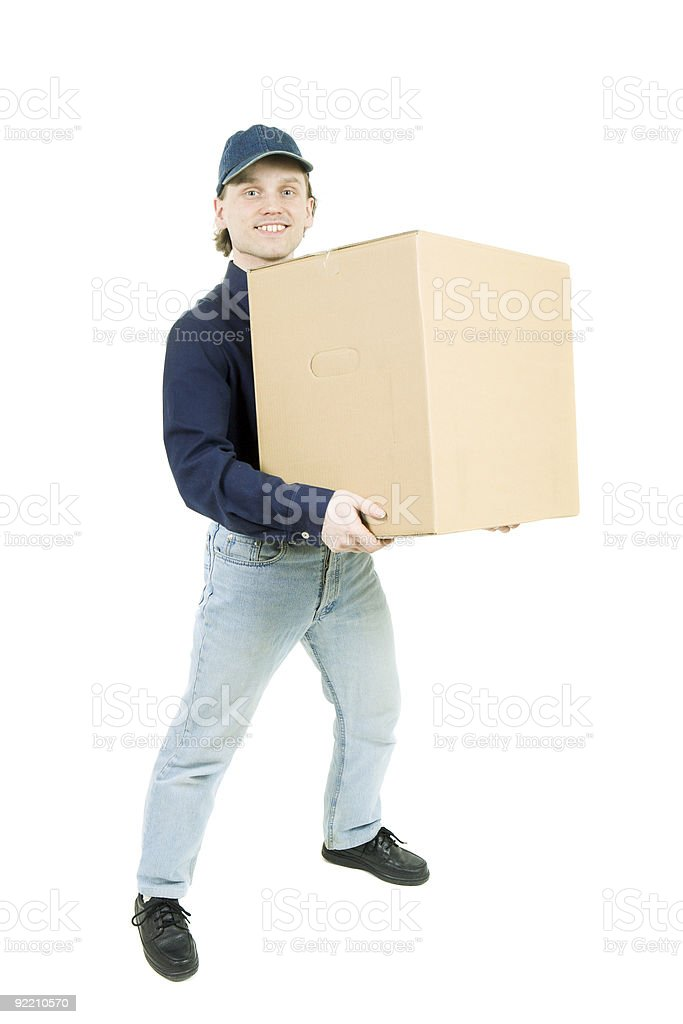 The man carrying a box royalty-free stock photo