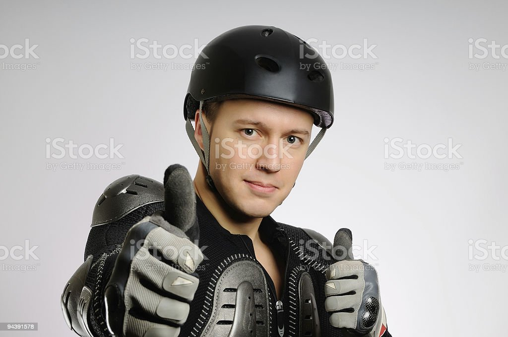 The man dressed in protection stock photo
