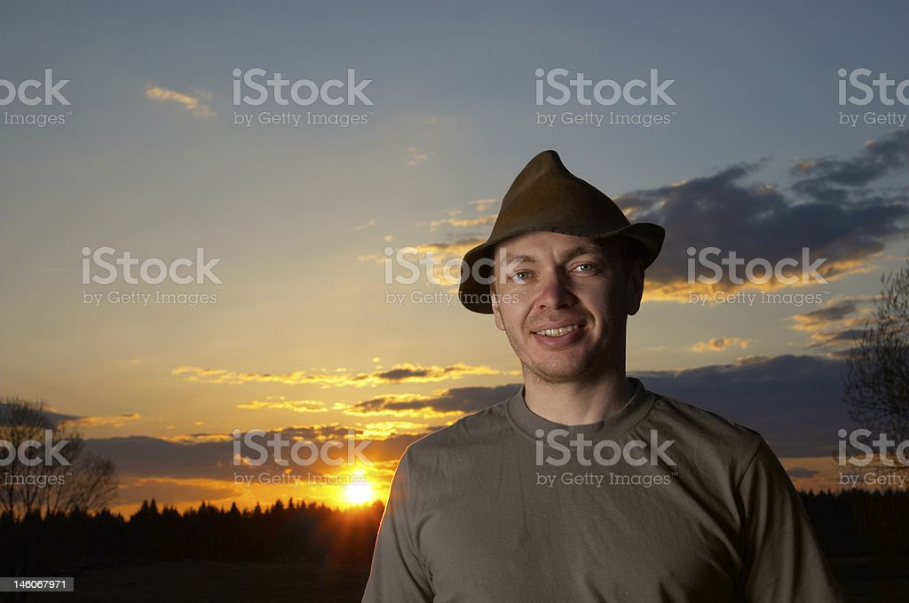 The man in a hat stock photo