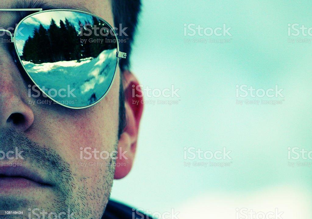 The Man in Mirrored Sunglasses stock photo