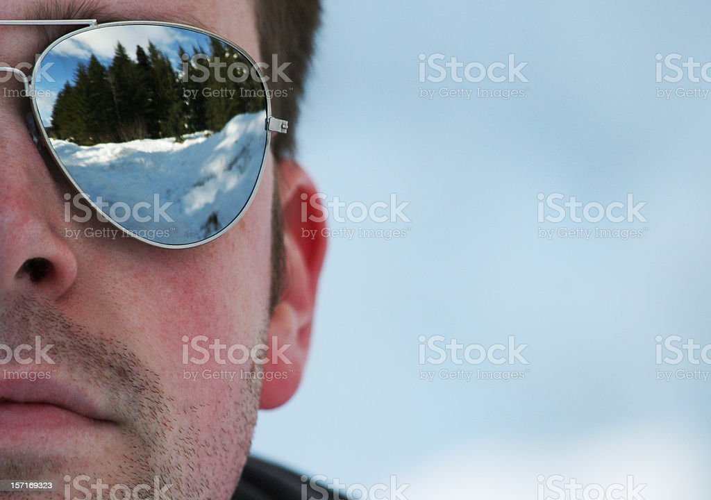 The Man in Mirrored Sunglasses stock photo