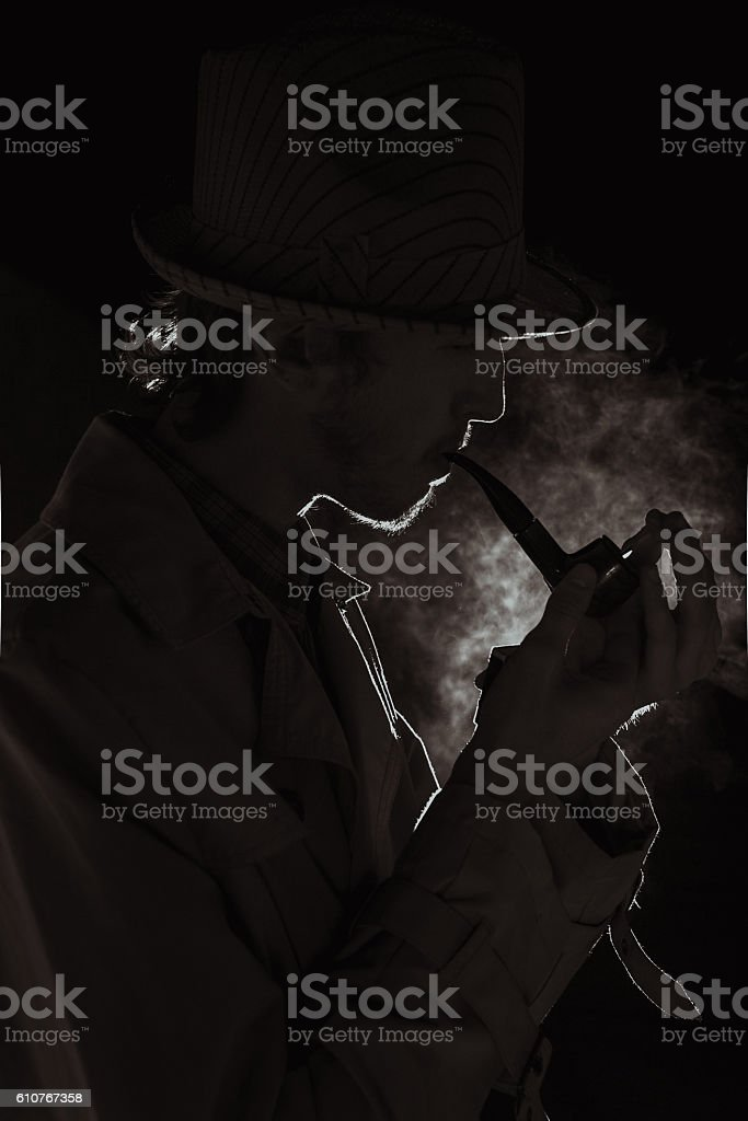 The man in style Chicago gangster with cigar stock photo