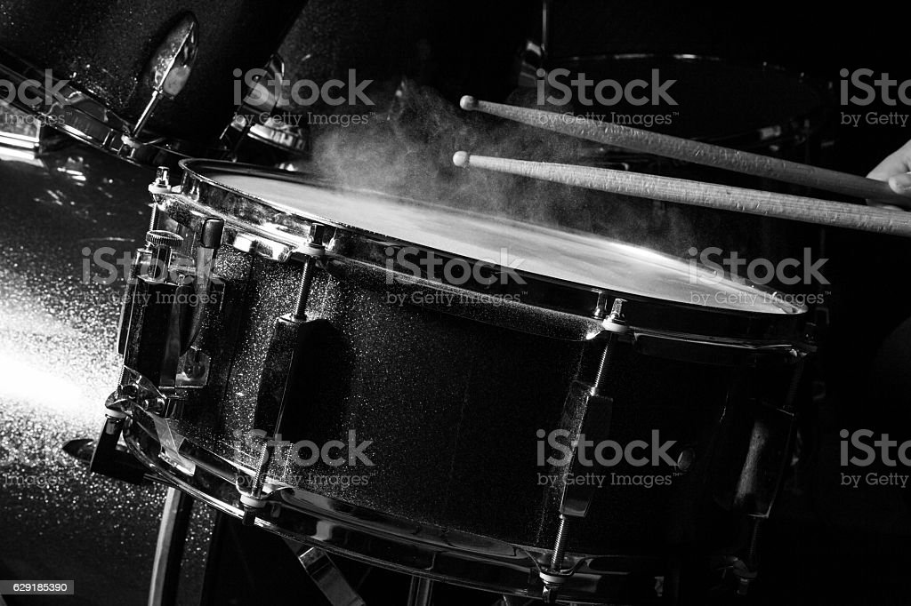 The man is playing drumset stock photo
