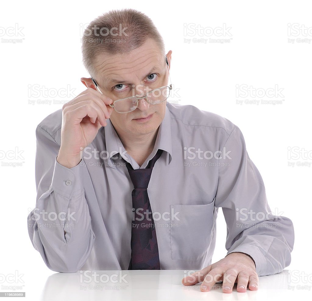 The man looking atop of glasses stock photo