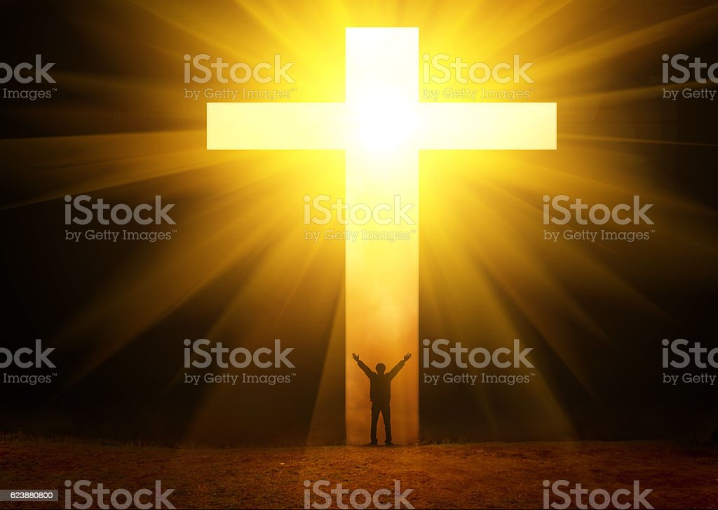 The man thank God stock photo