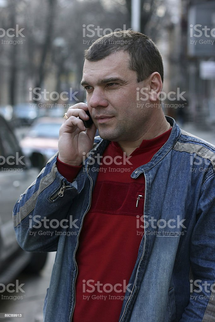 The man to which call stock photo