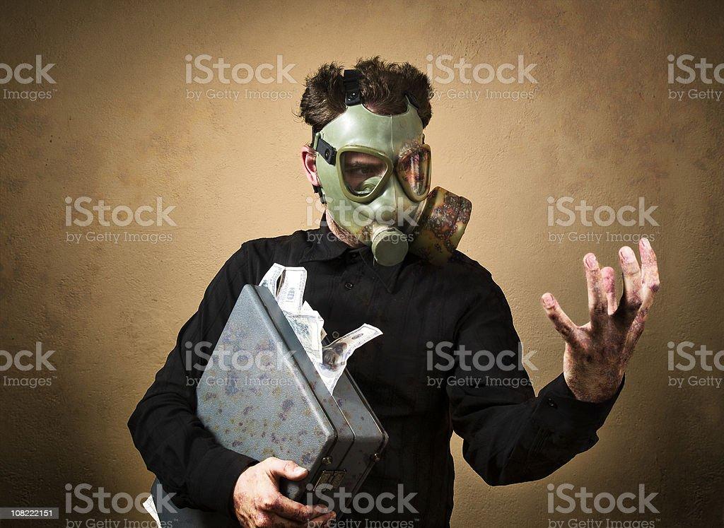 The man wearing a gas mask bio-hazard royalty-free stock photo