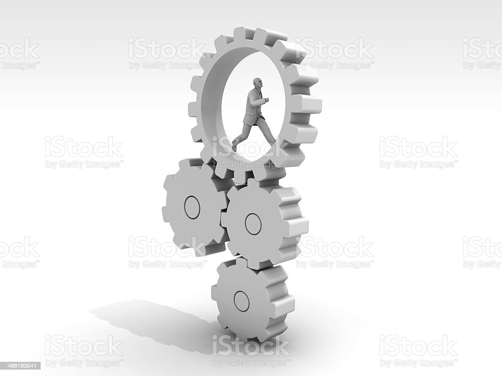 The Man Who Gears in Motion stock photo