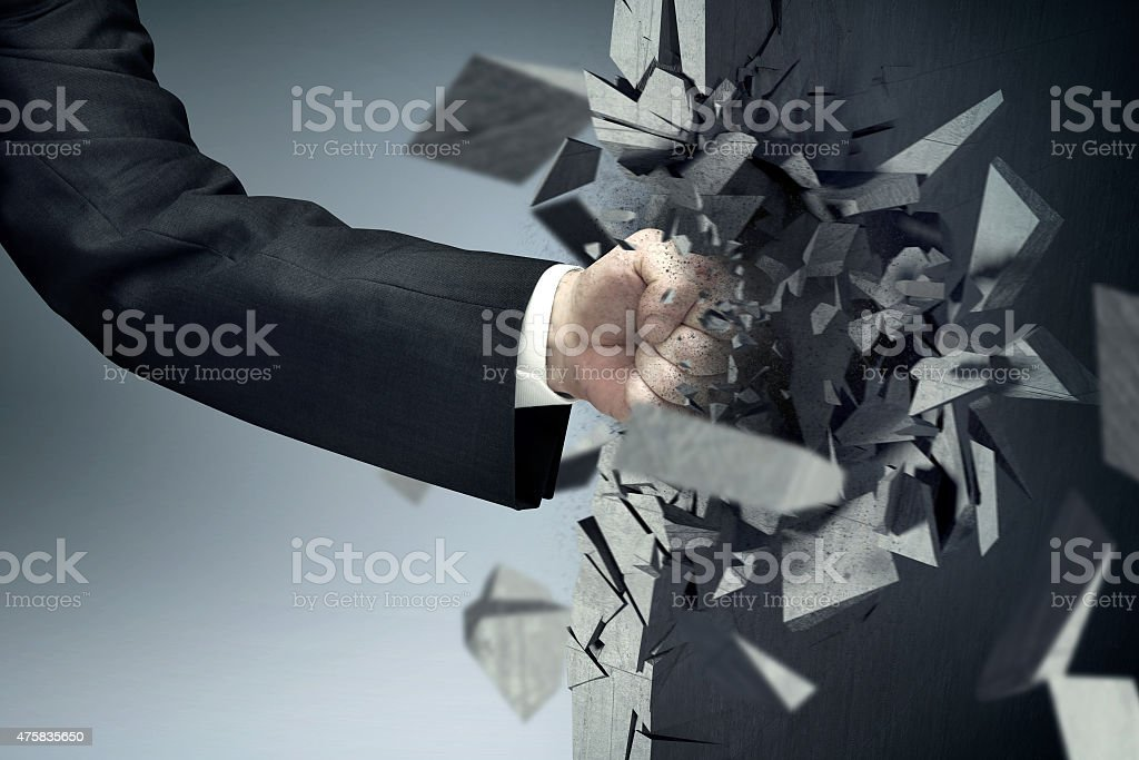 The man with a strong fist stock photo