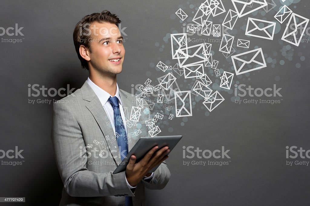 The man with a tablet  isolated stock photo