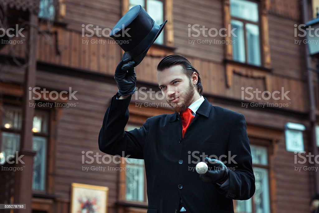 The man with the hat cylinder. stock photo