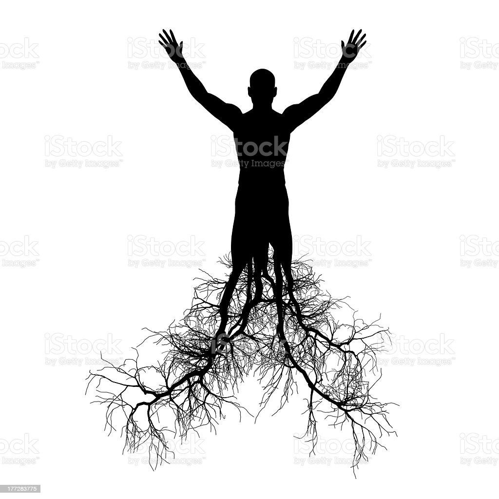 The man with tree roots stock photo