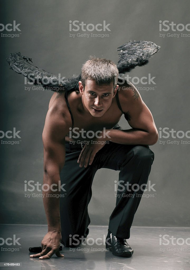 the man with wings stock photo