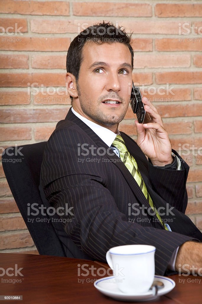The manager is calling royalty-free stock photo