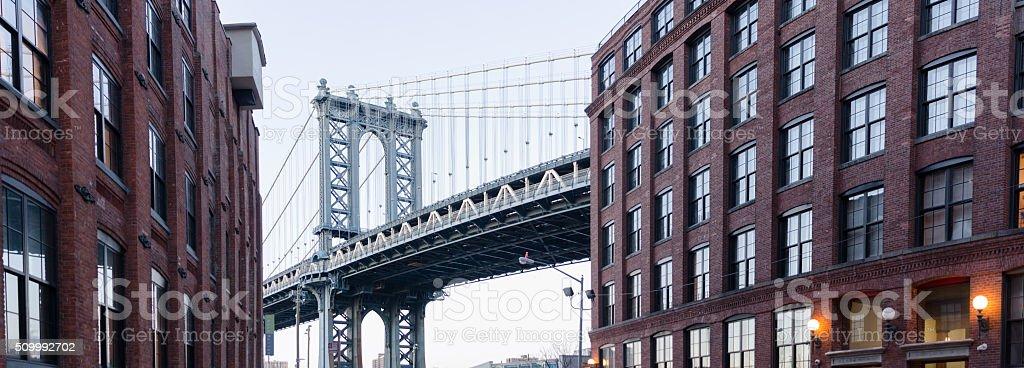 The Manhattan Bridge seen from Brooklyn New York stock photo