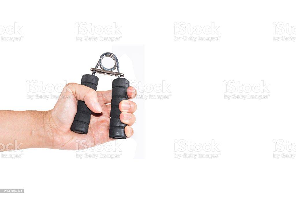 The man's hand handle with handgrip stock photo