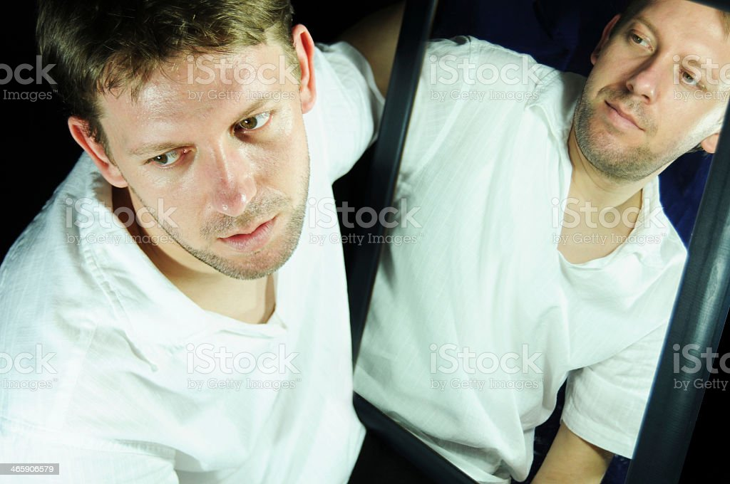 The many faces of bipolar and schizophrenic disorder stock photo