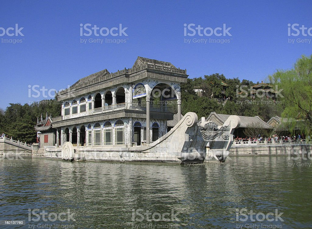 The Marble Boat at Summer Palace, Beijing stock photo
