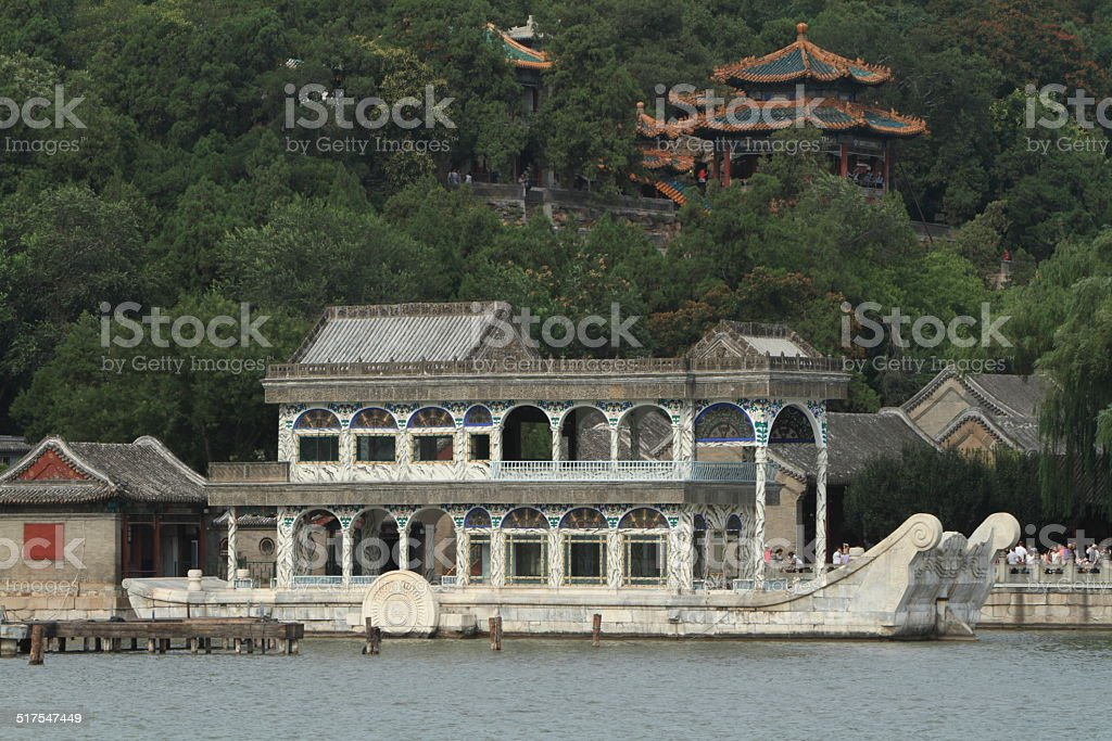 Das Marmorboot vom Sommer Palast in Peking stock photo
