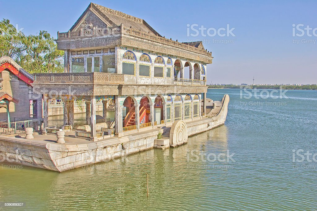 The Marble Boat of Purity and Ease, Summer Palace, Beijing stock photo