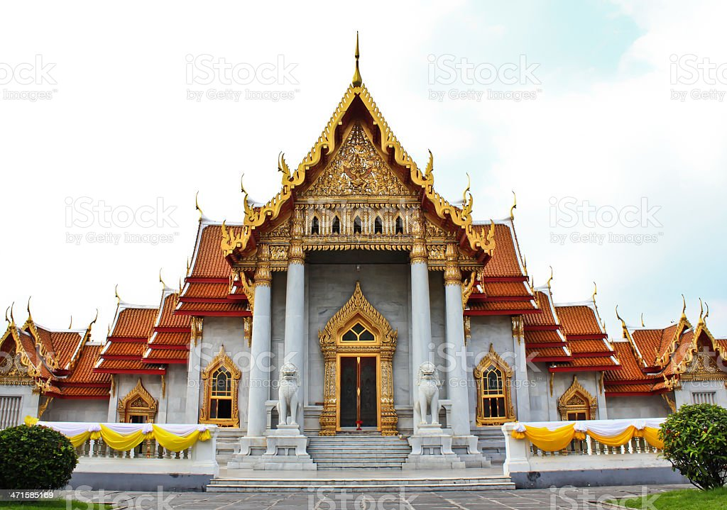 The marble chaple in Thailand stock photo
