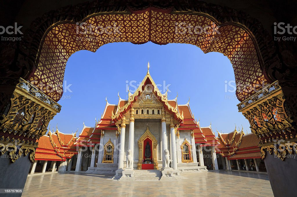 The Marble Temple (Wat Benchamabophit ), Bangkok, Thailand stock photo