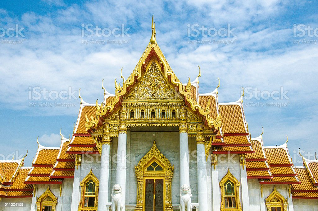 The Marble Temple (Wat Benjamabophit) Front View stock photo