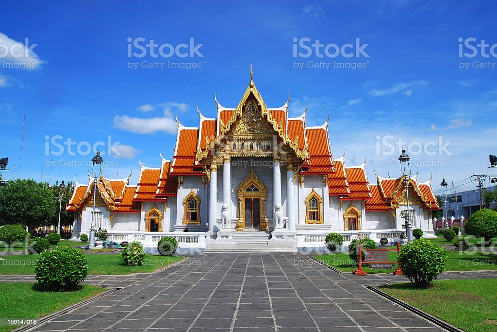 The Marble Temple in Thailand name watbencha royalty-free stock photo
