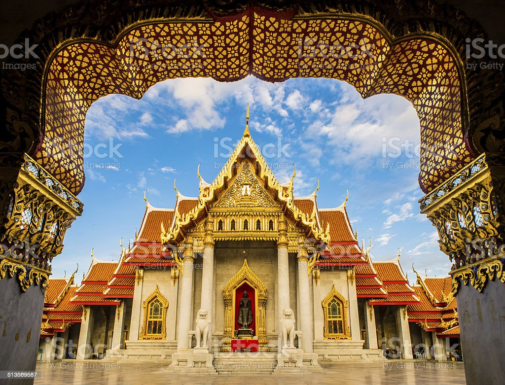 The Marble Temple , Wat Benchamabophit , Bangkok Thailand stock photo