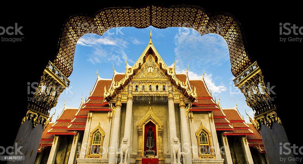 The Marble Temple , Wat Benchamabophit , Bangkok Thailand stock photo
