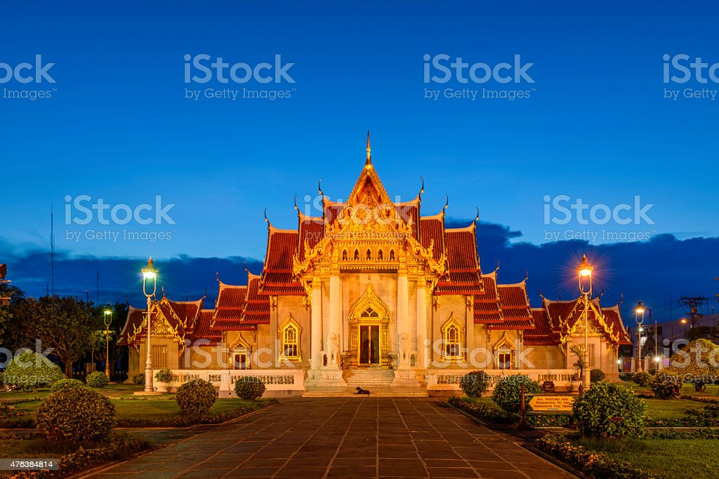 The Marble Temple, Wat Benchamabopitr Dusitvanaram Bangkok THAILAND royalty-free stock photo