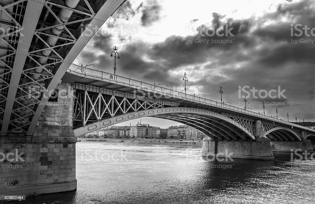 The Margaret Bridge with storm clouds. stock photo