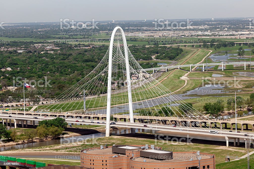 The Margaret Hunt Bridge in Dallas, Texas stock photo