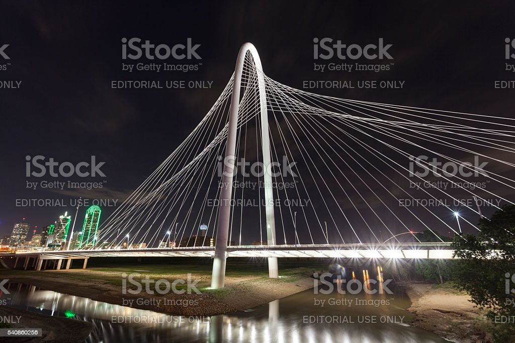 The Margaret Hunt Bridge in Dallas, Texas stock photo