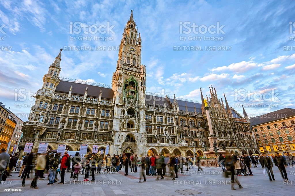 The Marienplatz in the city centre of Munich, Germany. stock photo