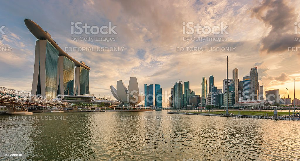 The Marina Bay Sands complex in dusk. stock photo