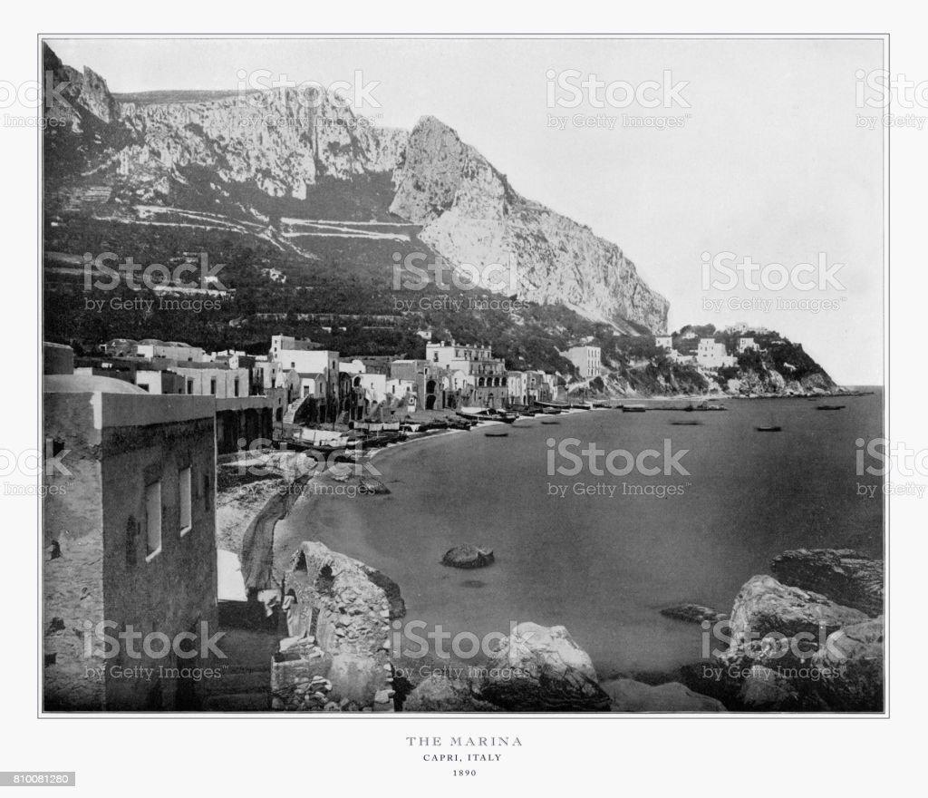 The Marina, Capri, Italy, Antique Italian Photograph, 1893 stock photo