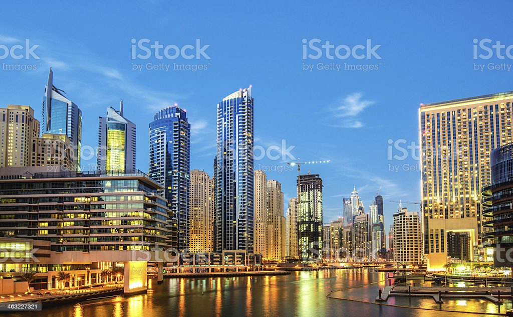The marina in Dubai at dusk is fantastic stock photo