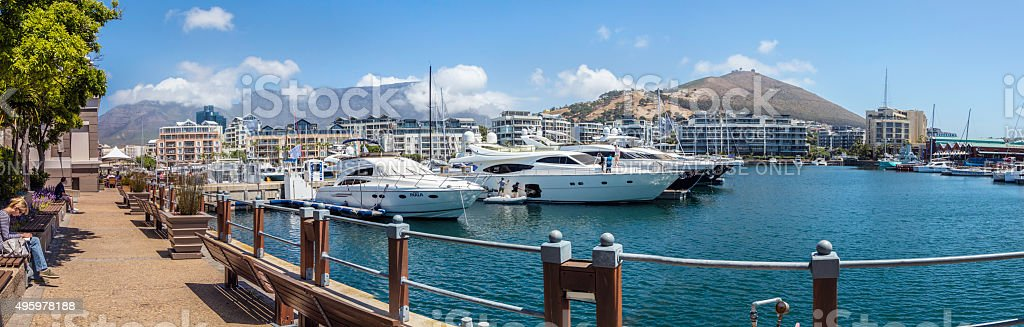 The Marina with luxury yachts at the V&A Waterfront stock photo