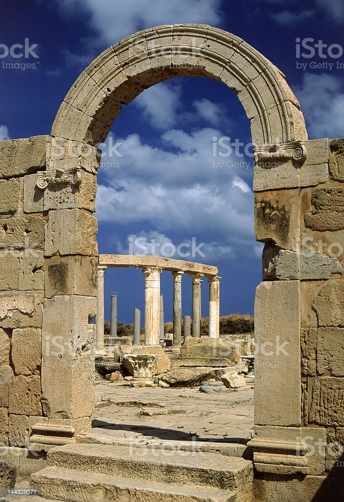 The Market - arched doorway, Leptis Magna royalty-free stock photo