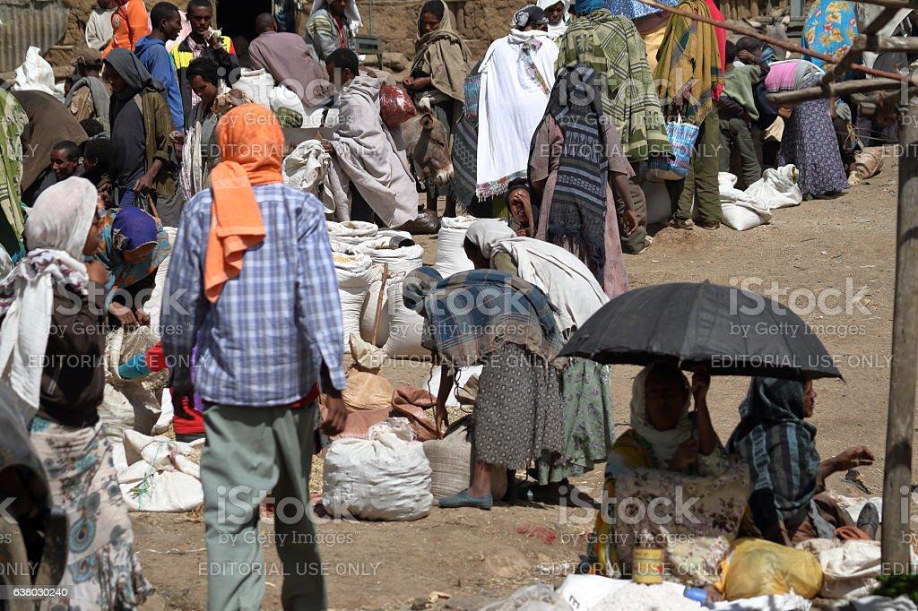 The Market of Debark in Ethiopia stock photo