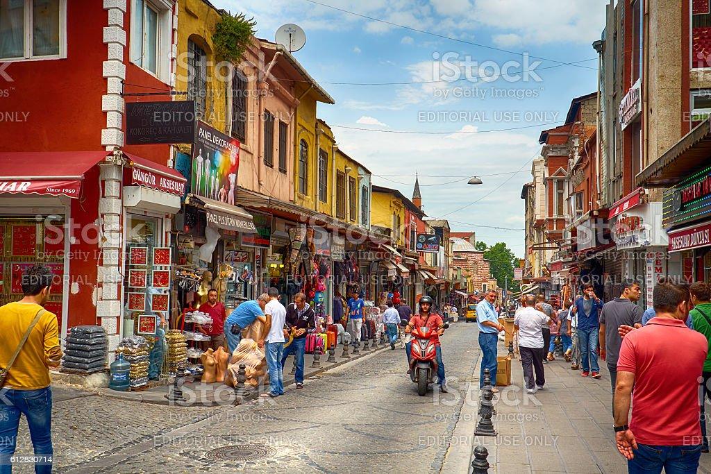 The market street  near Grand  Bazaar in Istanbul stock photo