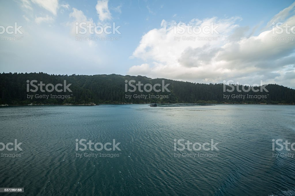 The Marlborough sounds, Cook strait crossing, New Zealand stock photo