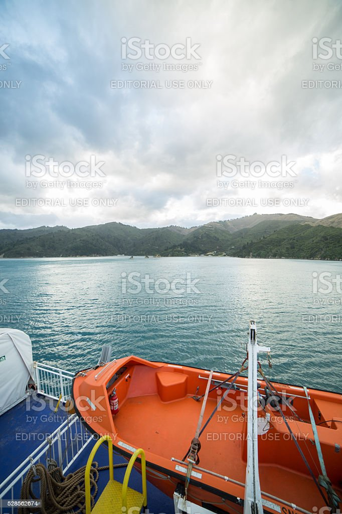 The Marlborough Sounds shot from the outdoor ferry deck stock photo