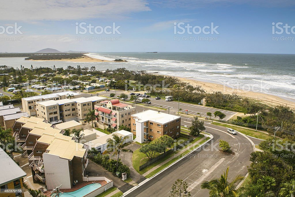 The Maroochydore skyline with buildings and beaches stock photo