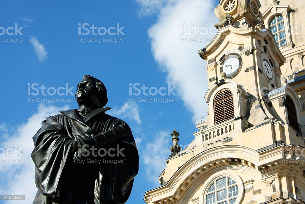 the Martin Luther monument in Dresden (Germany) stock photo