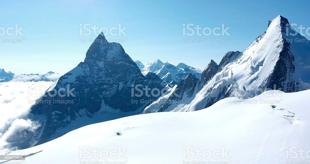 The Matterhorn and Dent d'Herens stock photo