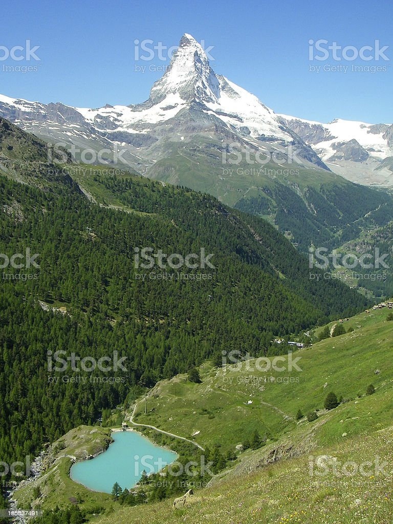 The Matterhorn and Swiss Alpine Lake near Zermatt Switzerland stock photo